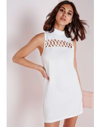 Missguided | Criss Cross Front Shift Dress White | Lyst