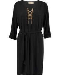 MICHAEL Michael Kors | Black Chain-embellished Stretch-jersey Dress | Lyst