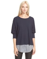 Vince | Blue Mixed Media Top | Lyst