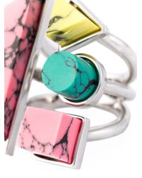 Eshvi | Green 'back To School' Marble Stones Ring | Lyst