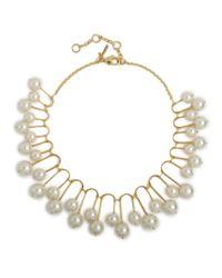 Lele Sadoughi | Metallic Beaded Fan Necklace Pearl | Lyst