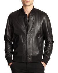 Diesel Black Gold - Black Leather Flight Jacket for Men - Lyst