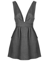 TOPSHOP - Gray Plunge Pinafore Dress By Love - Lyst
