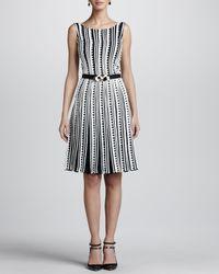 Oscar de la Renta White Embroidered Zigzag Dress