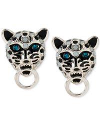 Betsey Johnson - Metallic Silver-Tone Blue Crystal Snow Leopard Stud Earrings - Lyst