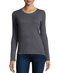 Neiman Marcus | Gray Cashmere Long-sleeve Crewneck Top | Lyst