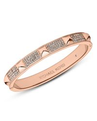 Michael Kors | Pink Rose Gold Tone Pave Pyramid Bangle Bracelet | Lyst