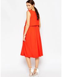 ASOS Orange Nursing Sleeveless Midi Skater Dress With Double Layer