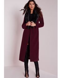 5aea2101ed3b Lyst - Missguided Longline Wool Coat With Faux Fur Collar Burgundy ...