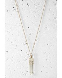 Forever 21 | Metallic Wire-wrapped Faux Gemstone Necklace | Lyst