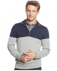 Tommy Hilfiger Blue Signature Colorblocked Quarter-zip Sweater for men