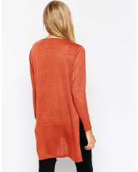 ASOS - Brown Longline Top With Split Side In Cut And Sew - Lyst