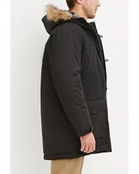 Forever 21 - Black Faux Fur Hooded Parka for Men - Lyst