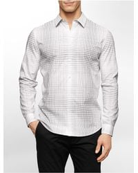 Calvin Klein | White Label Slim Fit Large Scale Grid Cotton Shirt for Men | Lyst