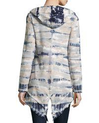 XCVI - Gray Katarina Tie-dye Hooded Zip-front Cardigan - Lyst