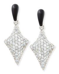 M.c.l  Matthew Campbell Laurenza | Metallic Art Deco Black Enamel & White Zircon Pave Arrow Earrings | Lyst