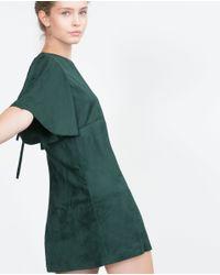 Zara | Green Faux Suede Dress | Lyst