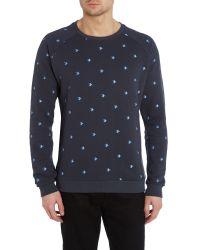 Anerkjendt Blue Haris Crew Neck Sweatshirt In Turtle Embroidery for men