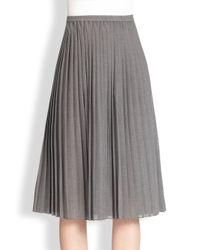 Michael Kors | Gray Pleated Midi Skirt | Lyst