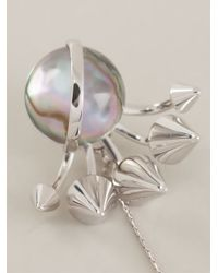 Fendi Metallic Drop Feather Studded Ball Earring