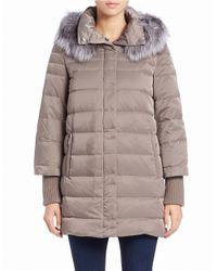 Elie Tahari Gray Silver Fox Fur-trimmed Puffer Coat