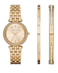 Michael Kors | Metallic Mini Darci Goldtone Stainless Steel Watch And Bracelet Set | Lyst