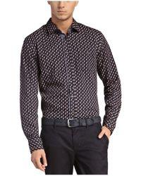 BOSS Orange - Blue Patterned Slim-fit Shirt In Cotton 'eslime' for Men - Lyst
