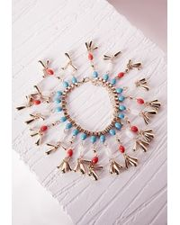 Missguided - Bead Detail Bracelet Gold Blue - Lyst