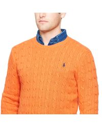 Polo Ralph Lauren - Orange Cable-knit Tussah Silk Sweater for Men - Lyst
