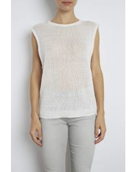 INHABIT | White Slashed Neck Cotton Tank | Lyst