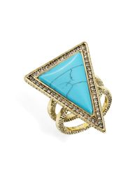 House of Harlow 1960 Blue Triangle Double Band Ring