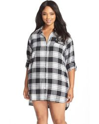 DKNY Gray Plaid Flannel Sleep Shirt