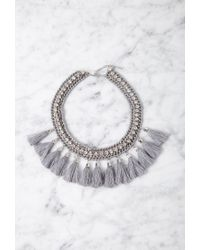 Forever 21 Gray Tasseled Rhinestone Statement Necklace