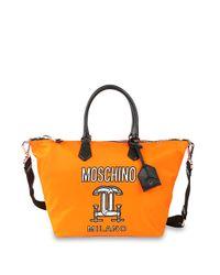 Moschino Orange Nylon Logo Shopping Bag