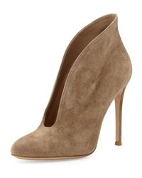 Gianvito Rossi Brown Suede V-Neck Ankle Bootie