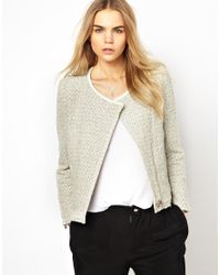 IRO | Gray Boucles Jacket with Lurex Flecks and Leather Trim | Lyst