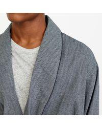 J.Crew Gray Herringbone Flannel Robe for men