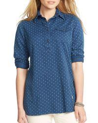 Lauren by Ralph Lauren Blue Dotted Tunic Shirt