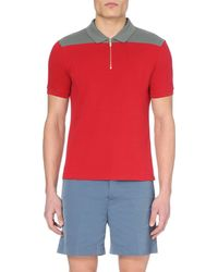 Emporio Armani Red Shoulder-panel Zip-detail Cotton Polo Shirt for men