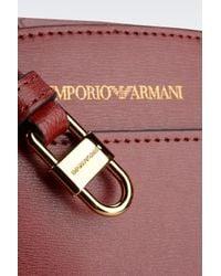 Emporio Armani Red Tote Bag in Boarded Leather