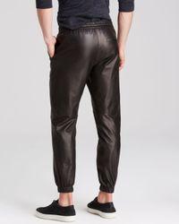 Vince Black Slim Fit Lamb Leather Jogger Pants for men