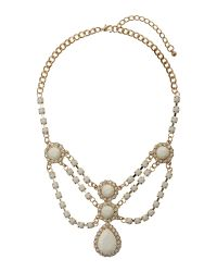Mikey White V Neck Multi Crystals Necklace