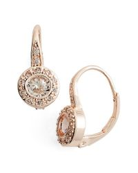 Anne Klein | Pink Cubic Zirconia Drop Earrings | Lyst