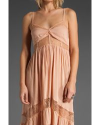 Shakuhachi | Pink Lace Paneled Maxi Dress | Lyst