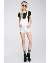 Forever 21 Natural Crochet-trimmed Overall Shorts