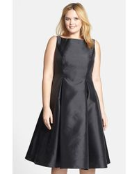 Adrianna Papell | Black Sleeveless Mikado Fit & Flare Midi Dress | Lyst