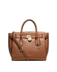 Michael Kors - Brown Hamilton Traveler Leather Satchel - Lyst