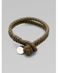 Bottega Veneta | Gray Intrecciato Leather Double-row Wrap Bracelet | Lyst
