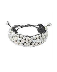 Aeravida | White Handmade Genuine Stone Hemp Stone Bracelet | Lyst