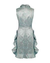 Paskal - Blue Collar Ruffle Metallic Jacquard Dress - Lyst